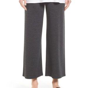 Eileen Fisher cropped wide-leg wool jersey pants